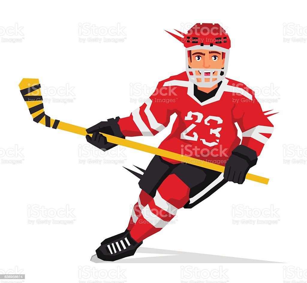 Hockey player with a stick - Illustration vectorielle