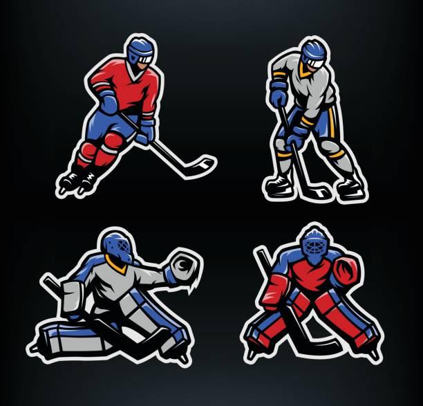 ilustraciones, imágenes clip art, dibujos animados e iconos de stock de hockey juego de jugadores y porteros. - hockey