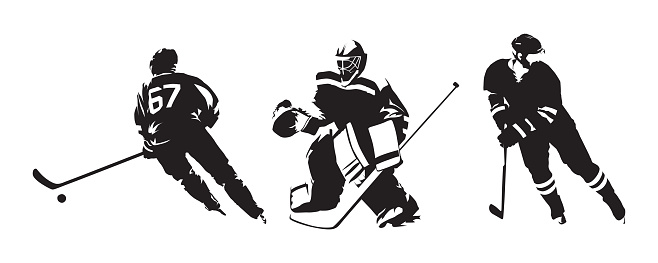 Hockey players, group of isolated vector silhouettes. Ice hockey ink drawings