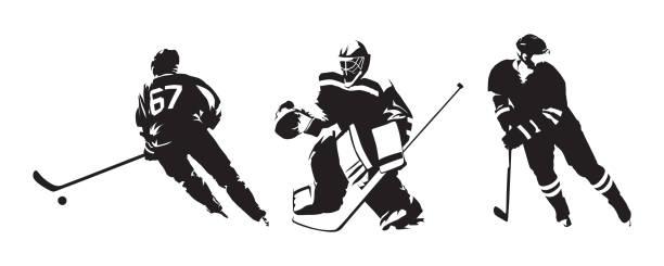 illustrations, cliparts, dessins animés et icônes de joueurs de hockey, groupe de silhouettes vector isolés. dessins à l'encre de hockey sur glace - hockey