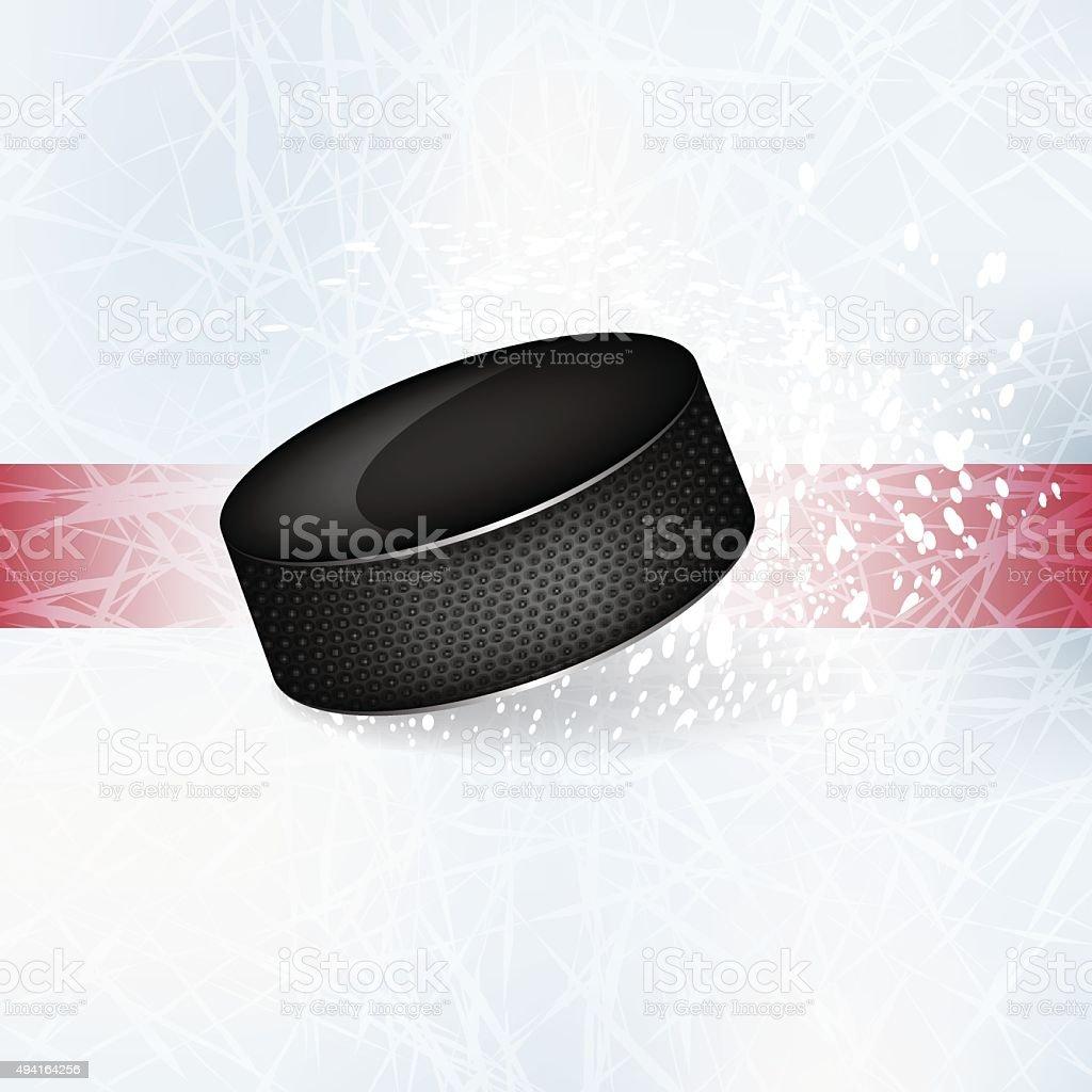 Hockey puck on the ice. vector art illustration