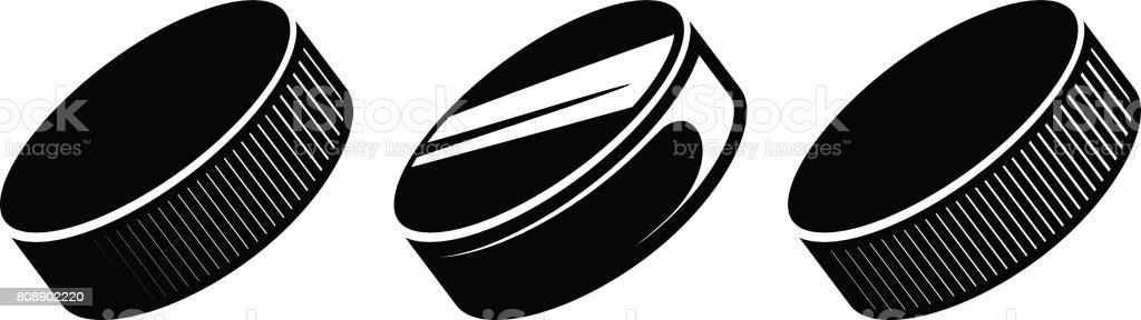 Hockey pucks vector vector art illustration
