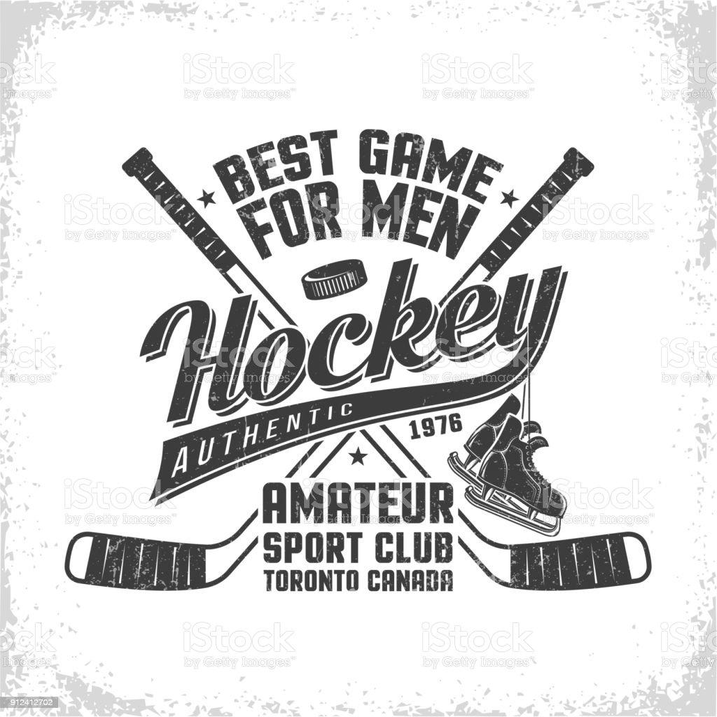 Hockey retro emblem for team or sport club vector art illustration