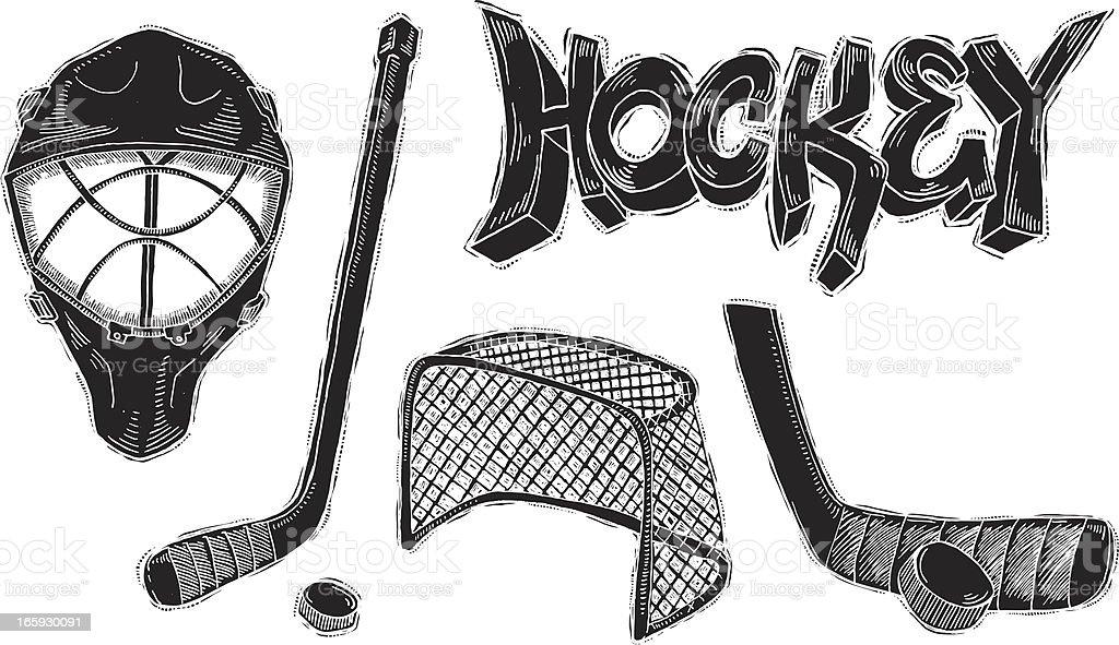 Hockey tinta inversa - ilustración de arte vectorial