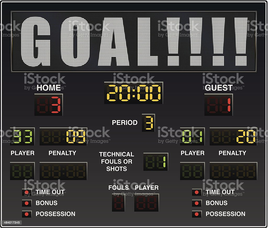 Hockey Scoreboard vector art illustration