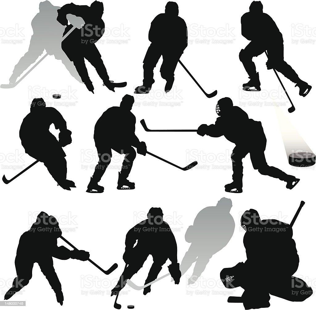 Hockey Silhouettes vector art illustration