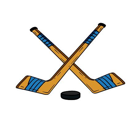 Hockey stick and puck. Crossed sports equipment. Winter Games. Cartoon illustration