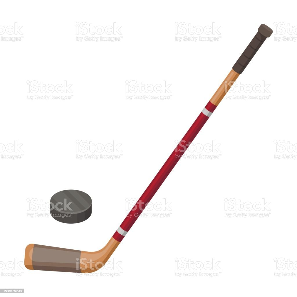 Hockey Stick And Washer Canada Single Icon In Cartoon Style Vector