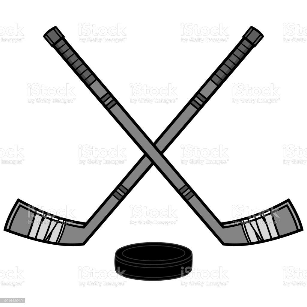 hockey sticks and puck illustration stock vector art more images rh istockphoto com Flying Hockey Puck Clip Art Hockey Clip Art