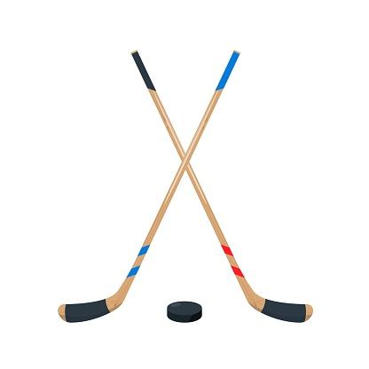 Hockey Sticks and puck set. Sport equipment.