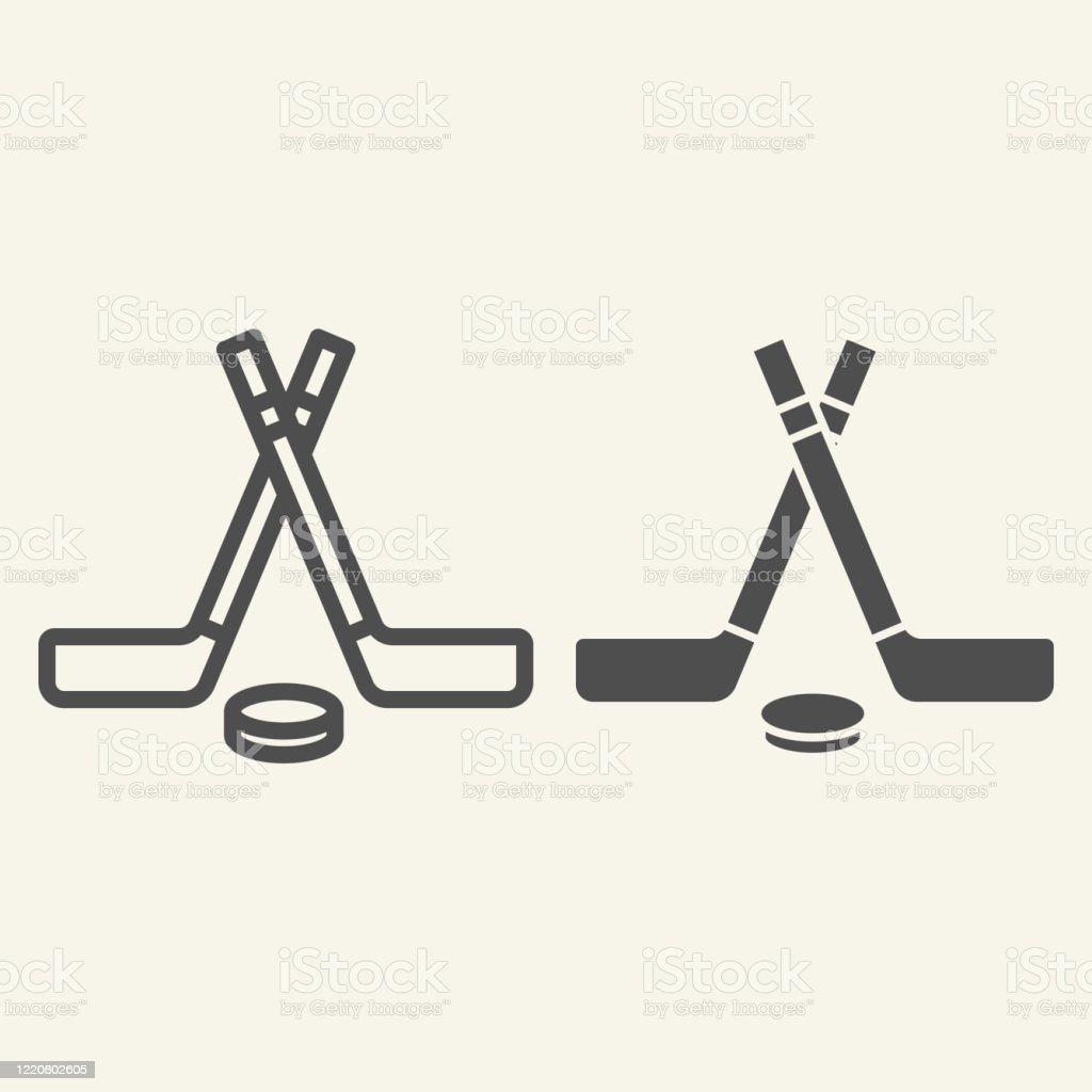 Ilustración De Línea De Palos De Hockey E Icono Sólido Los Signos De Deportes De Invierno Perfilan Pictograma De Estilo Sobre Fondo Beige Palos De Hockey Cruzados Y Disco Para Concepto Móvil