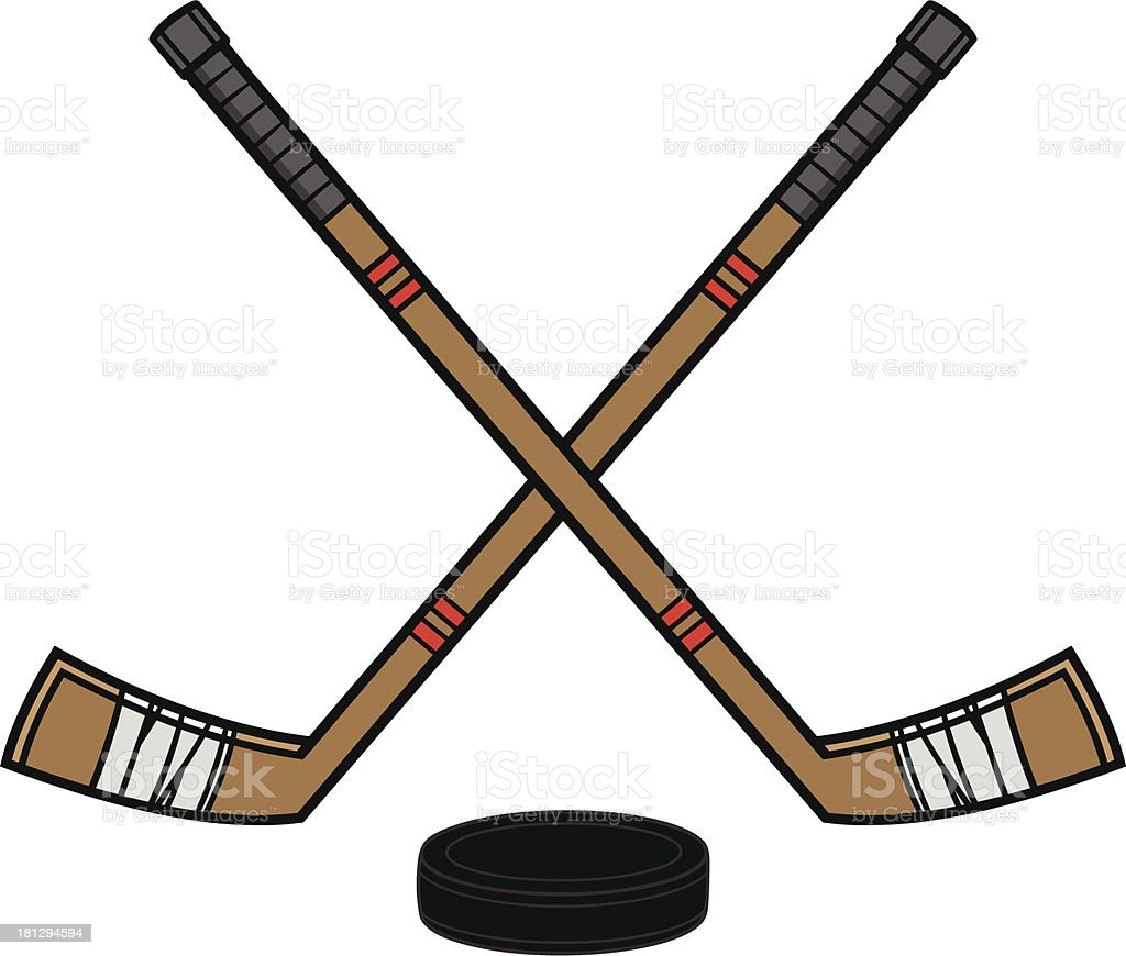 hockey sticks puck stock vector art   more images of cartoon 181294594 istock hockey stick clipart sideways hockey stick clipart printable