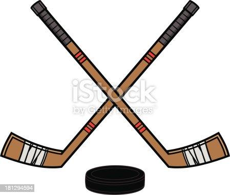 hockey sticks puck stock vector art   more images of ccm vector hockey stick vector field hockey stick