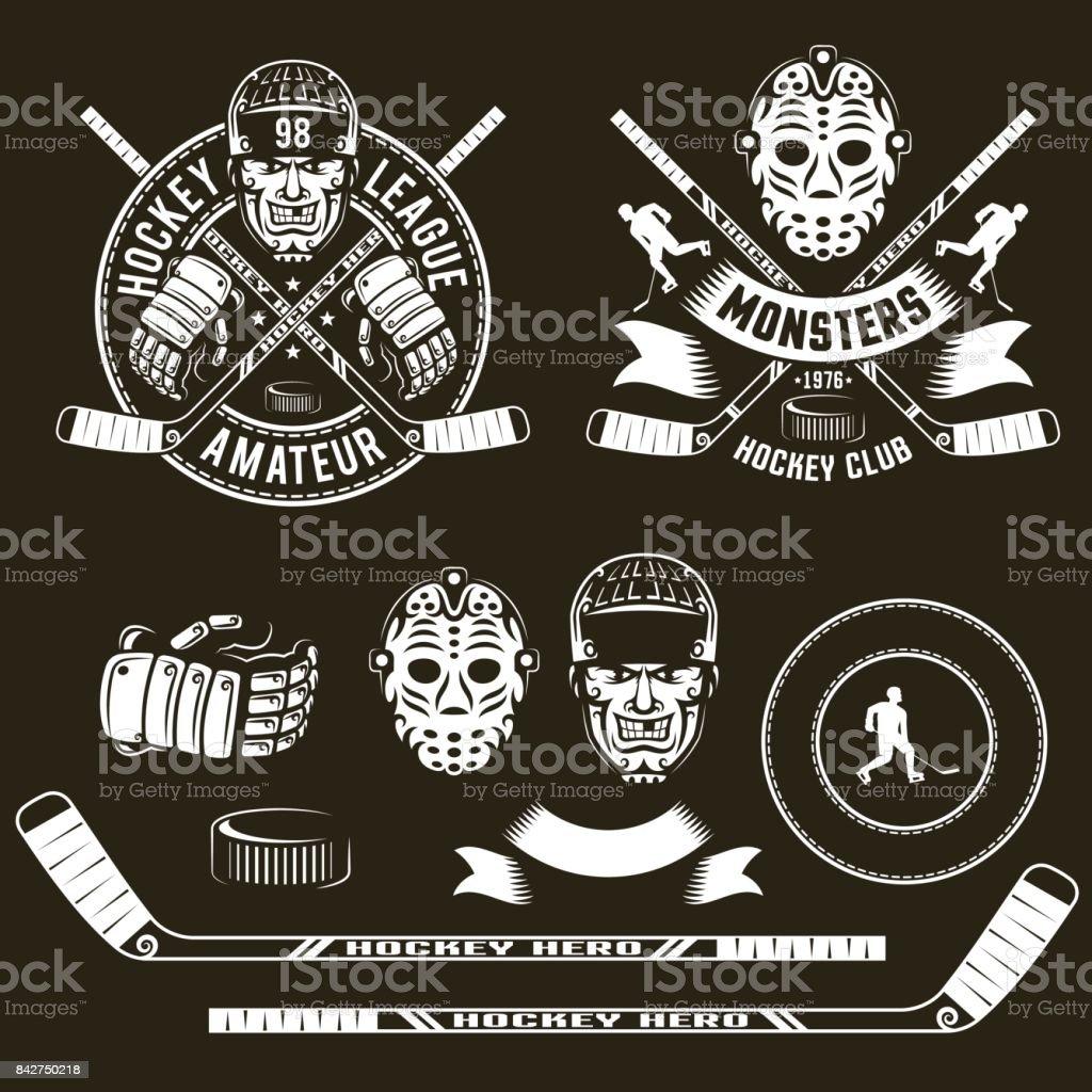 Hockey symbols, player  head, goalie mask vector art illustration