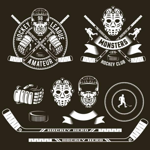 ilustrações, clipart, desenhos animados e ícones de símbolos de hóquei, cabeça do jogador, máscara de goleiro - hóquei