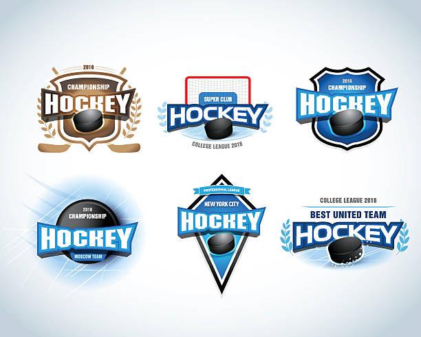 ilustraciones, imágenes clip art, dibujos animados e iconos de stock de el equipo de hockey emblems. campeonato de hockey, tarjetas de nivel profesional. - hockey