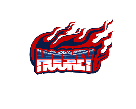 hockey, the word in the form of a logo with the image of the ice arena inside and the flame around