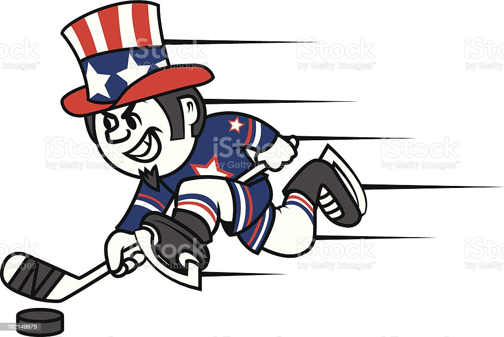 Hockey Uncle Sam royalty-free stock vector art