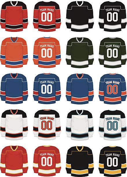 ilustraciones, imágenes clip art, dibujos animados e iconos de stock de hockey uniformes - hockey