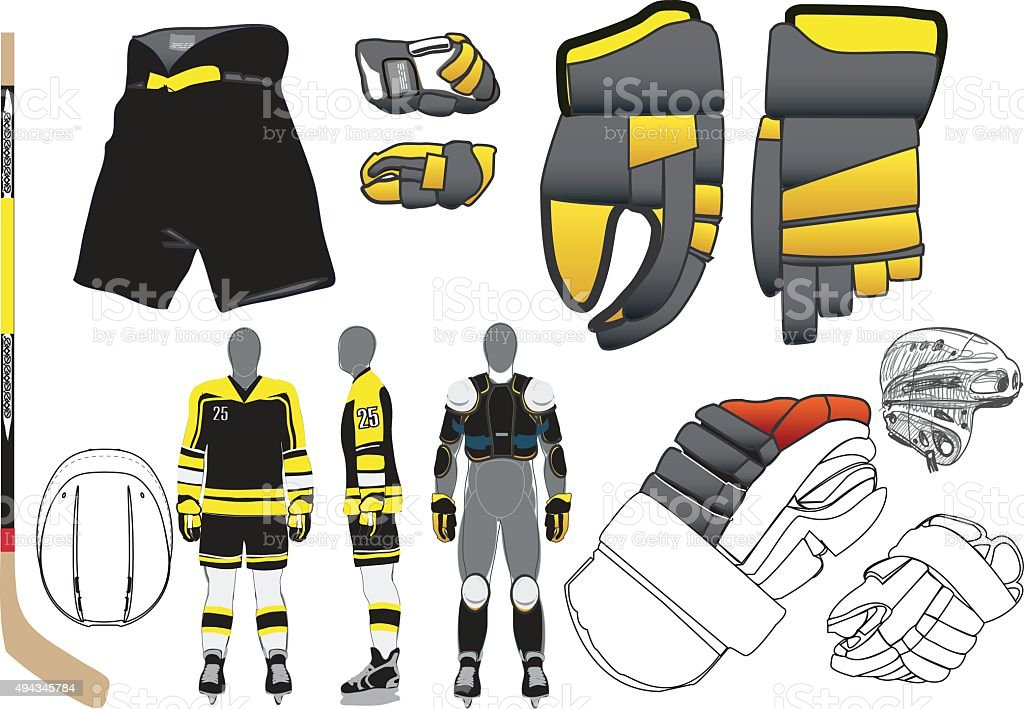 Hockey uniforms. Vector vector art illustration