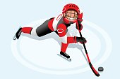 Ice hockey vector cartoon clipart. Winter sports background. Flat Isolated isometric people illustration.