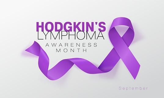 Hodgkin's Lymphoma Awareness Calligraphy Poster Design. Realistic Violet Ribbon. September is Cancer Awareness Month. Vector