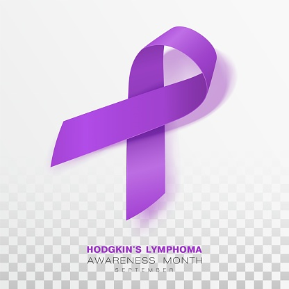 Hodgkins Lymphoma Awareness Month. Violet Color Ribbon Isolated On Transparent Background. Vector Design Template For Poster.