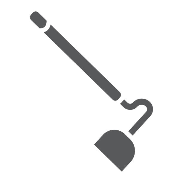 Hoe glyph icon, equipment and agriculture, tool sign, vector graphics, a solid pattern on a white background. Hoe glyph icon, equipment and agriculture, tool sign, vector graphics, a solid pattern on a white background, eps 10. garden hoe stock illustrations