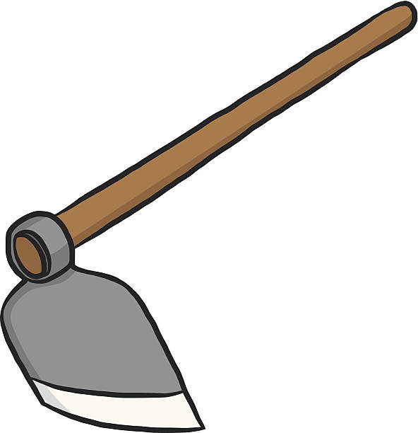 hoe or digging tool hoe or digging tool / cartoon vector and illustration, isolated on white background. garden hoe stock illustrations