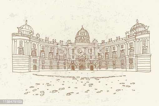 Vector sketch of Hofburg palace on St. Michael square (Michaelerplatz), Vienna, Austria