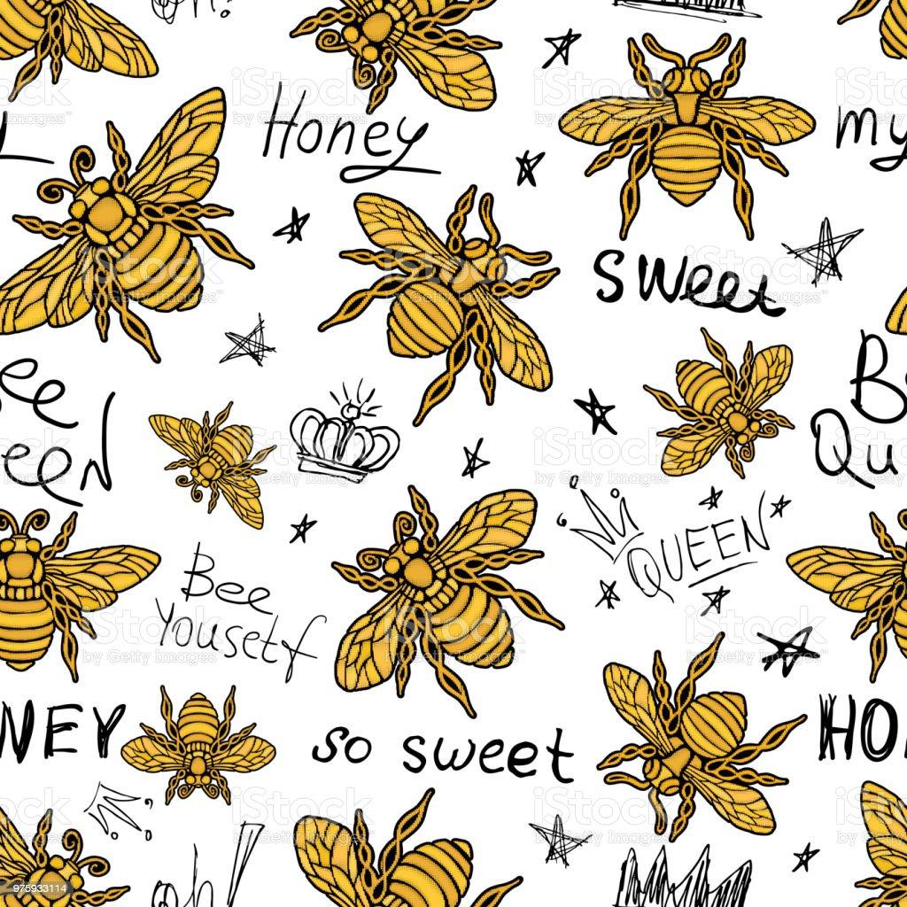 Ilustración de Tejidos De Patrones Sin Fisuras Hohey Bee Bordado ...