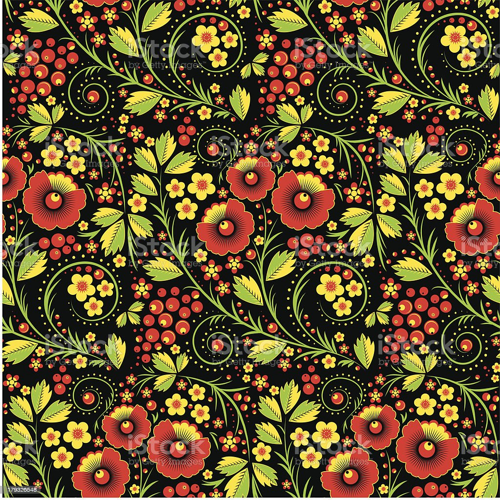 Hohloma seamless pattern royalty-free stock vector art