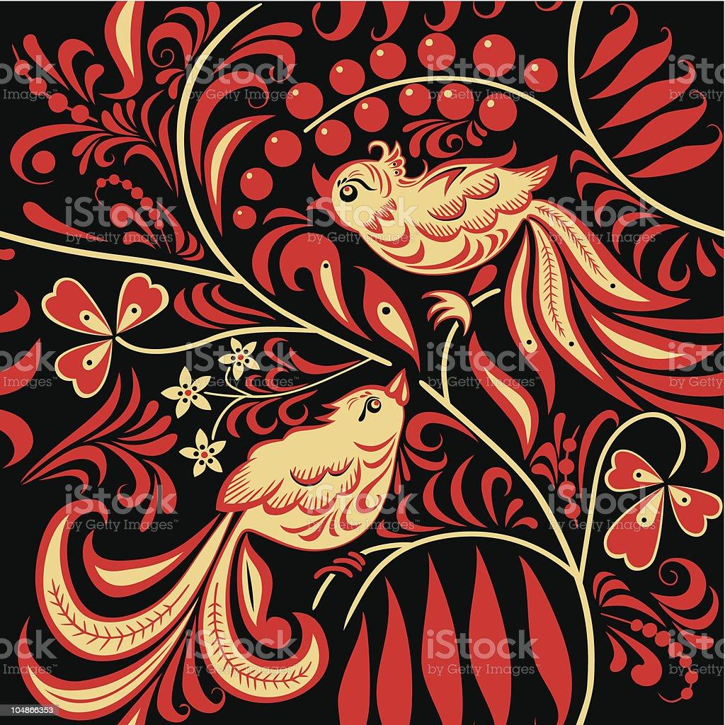Hohloma vector art illustration