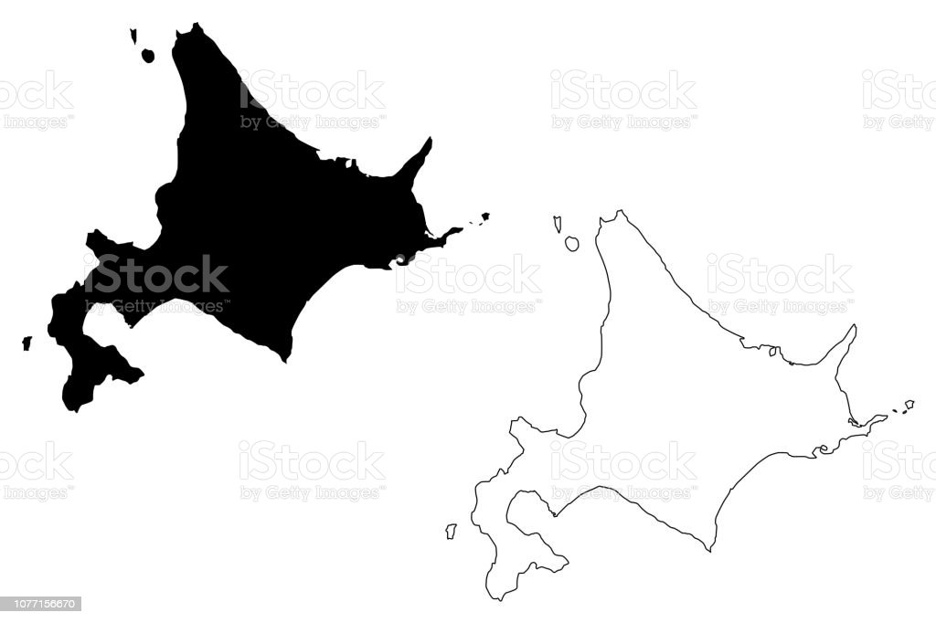Hokkaido map vector royalty-free hokkaido map vector stock illustration - download image now