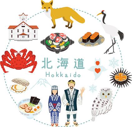 Hokkaido Tourism Flat Icons Stock Illustration - Download Image Now