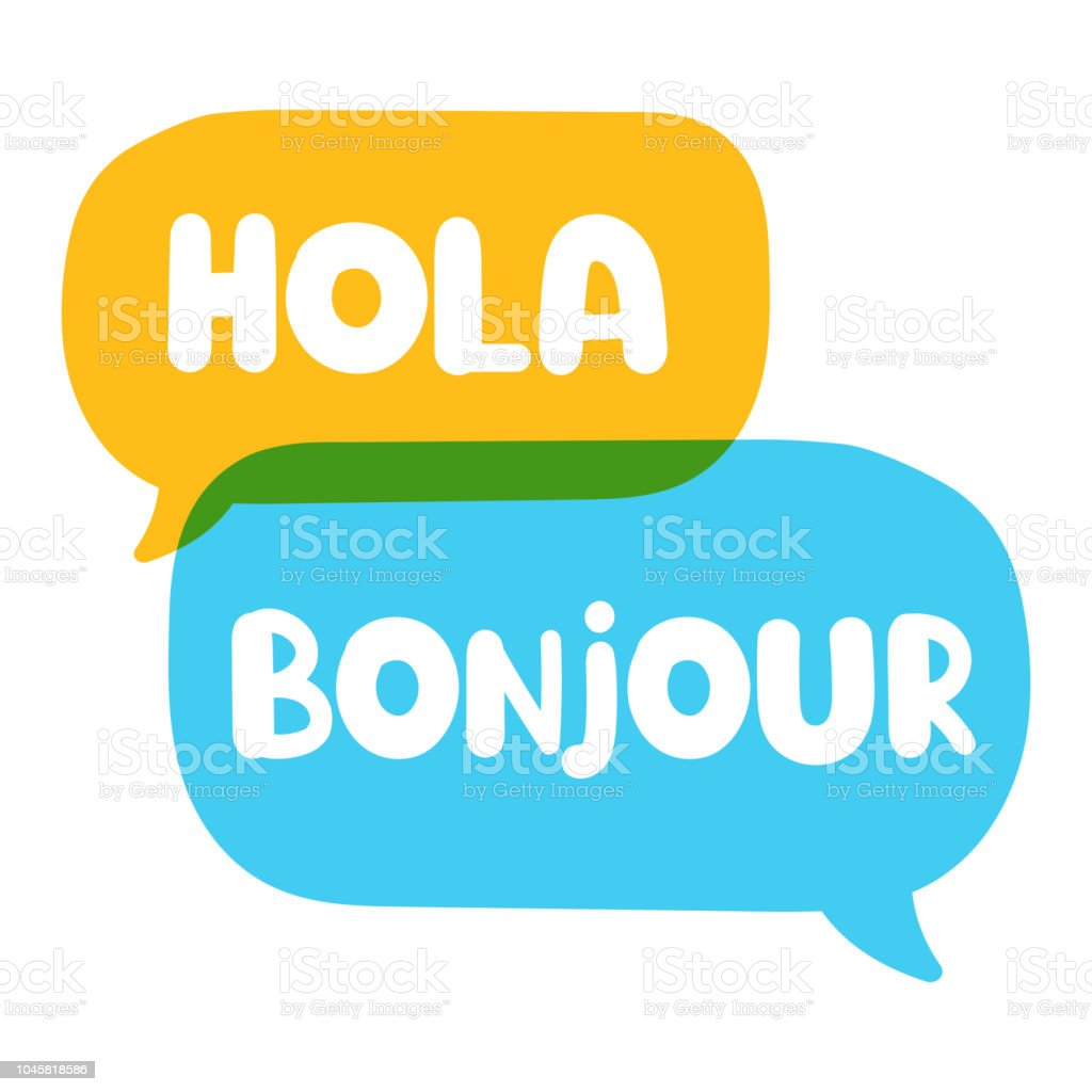 Hola, bonjour. Speech bubbles. Translation concept. Vector illustration on white background. vector art illustration