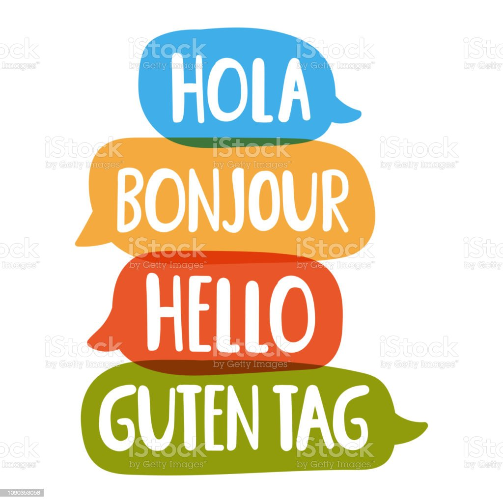 Hola, guten tag, bonjour, hello. Vector hand drawn, lettering illustration on white background. vector art illustration