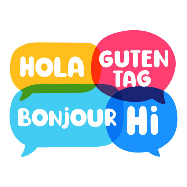 hola, guten tag, bonjour, hi. speech bubbles discuss, social network or translation concept. vector business illustration on white background. - language class stock illustrations