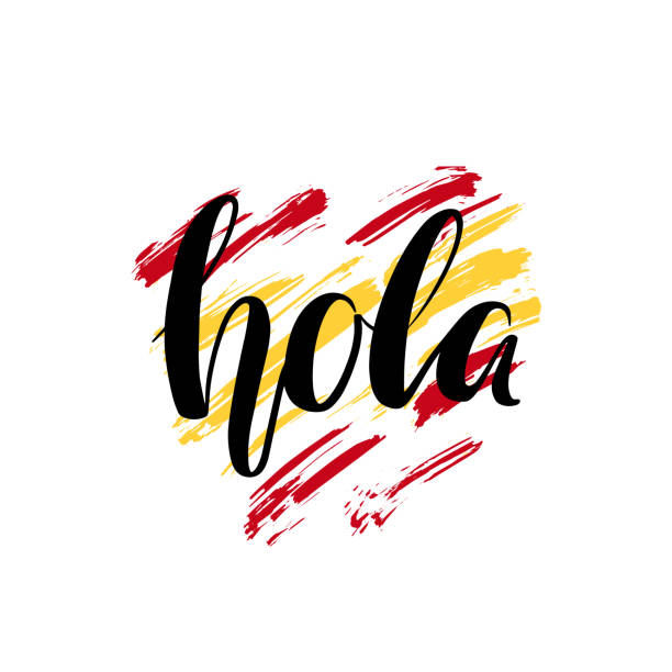 illustrazioni stock, clip art, cartoni animati e icone di tendenza di hola. hand lettering, hello in spanish language. hand written brush calligraphy isolated on hand drawn background in the shape of a heart and in the colors of the national flag of spain. - spagnolo lingua