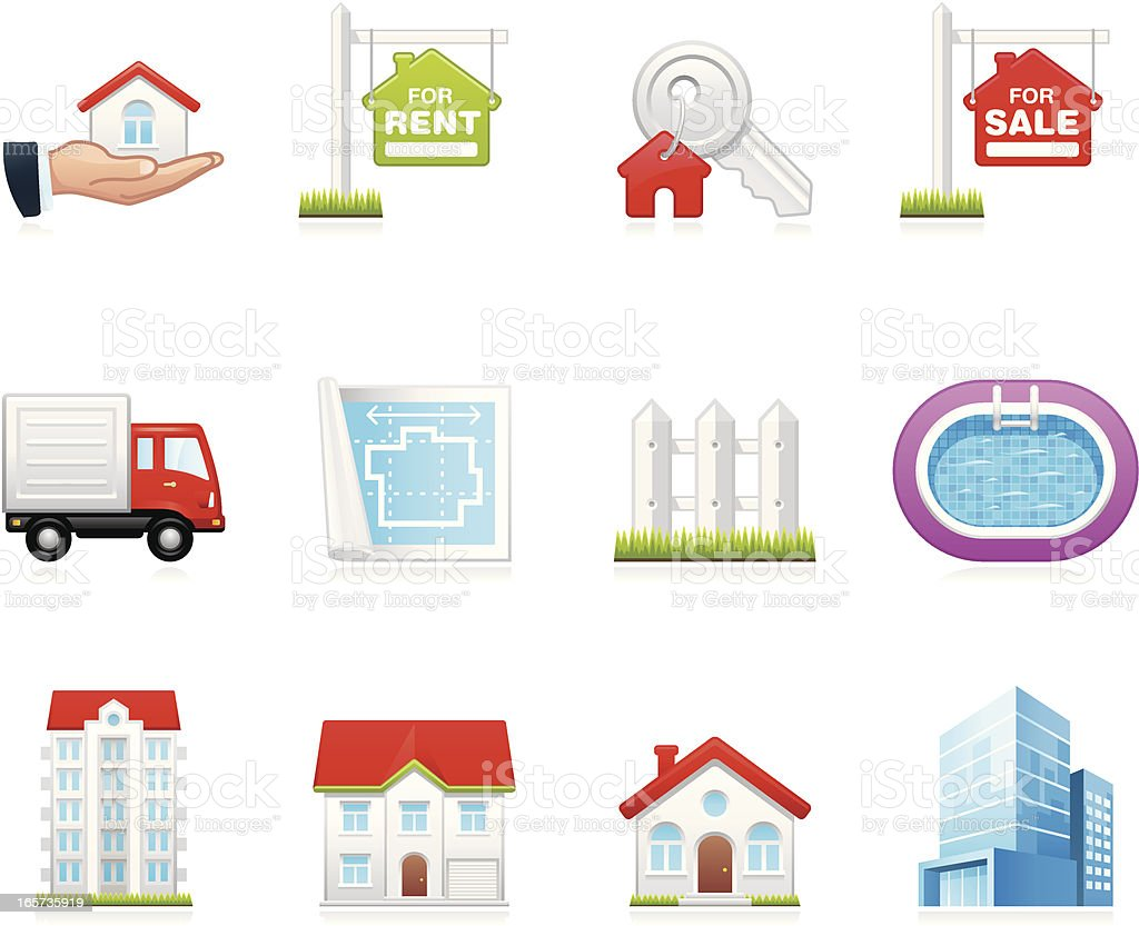 Hola icons - Real Estate vector art illustration