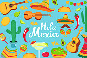 Hola Mexico hand drawn lettering. Decorative poster, banner, flyer, greeting card, advertising for the national Mexican holiday. Musical instruments, local food, clothing.