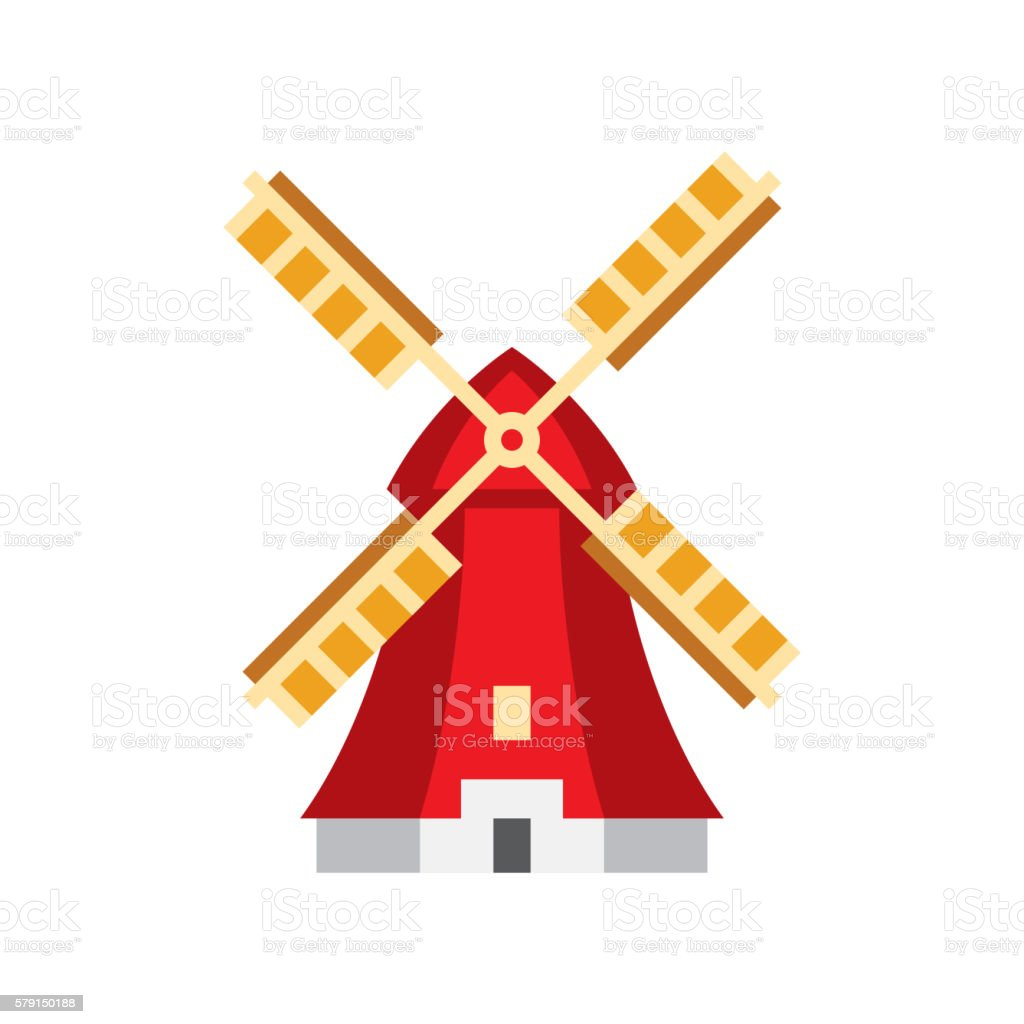 Holandaise Windmill Simplified Icon vector art illustration