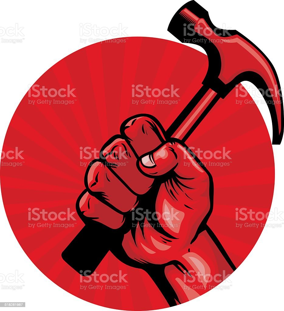 hold a hammer poster vector art illustration