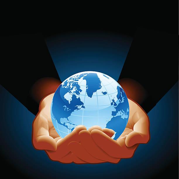 Hold Globe vector art illustration