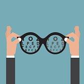 Hold hands Glasses Optician, Vision Of Eyesight Eye Care Concept Vector Illustration