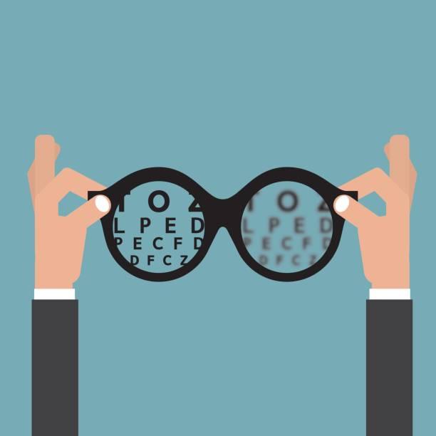ilustraciones, imágenes clip art, dibujos animados e iconos de stock de agarrense de las manos a gafas óptica, visión de vista ojo cuidado concepto vector ilustración - optometrista