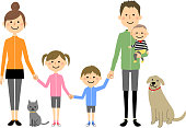 Illustration of the family holding hands.
