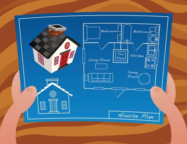 Hold House Plan vector art illustration