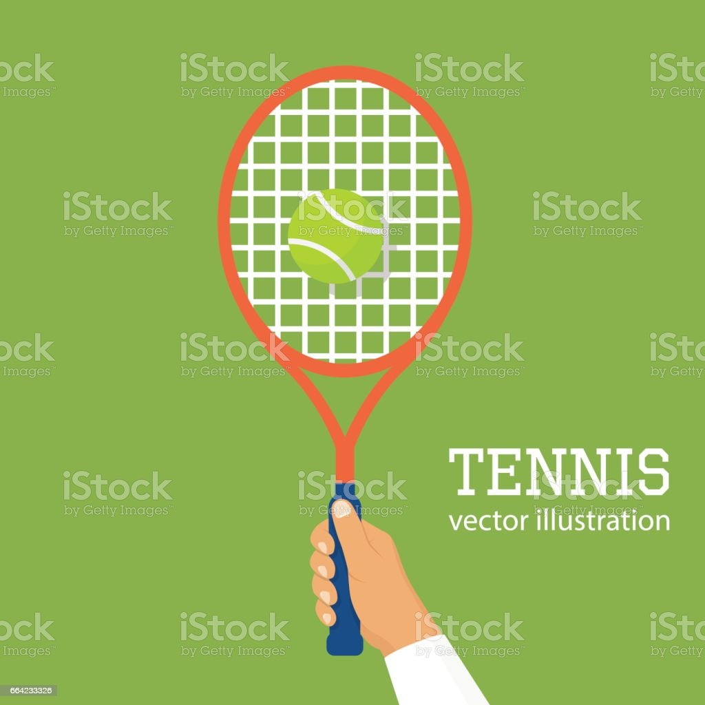 Hold racquet in hand vector art illustration