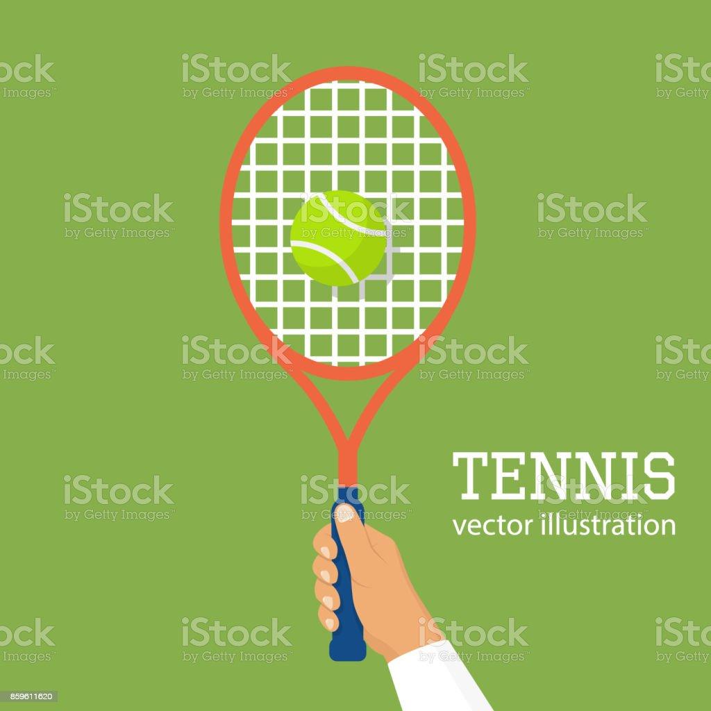 Hold racquet in hand vector art illustration